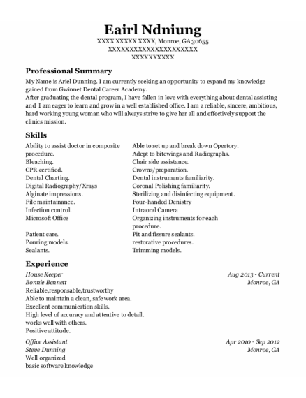 House Keeper resume example Georgia