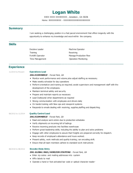 Operations Lead resume format Georgia