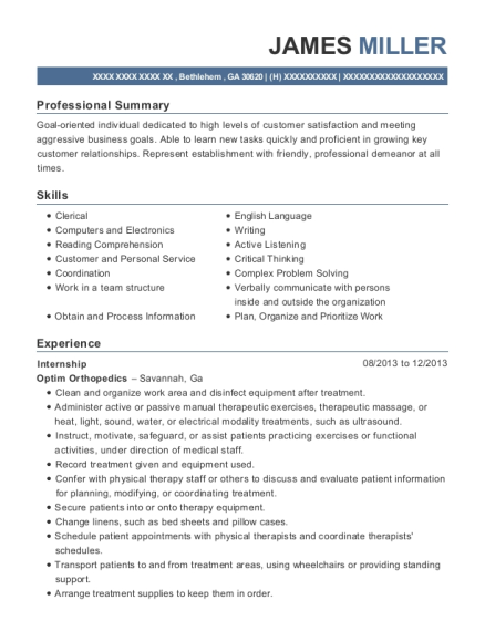 Internship resume template Georgia