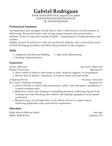 Owner Operator resume sample Georgia
