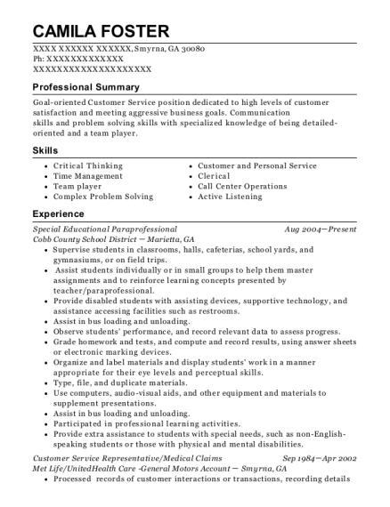 Special Educational Paraprofessional resume template Georgia
