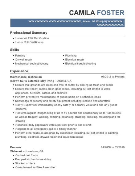 Maintenance Technician resume example Georgia