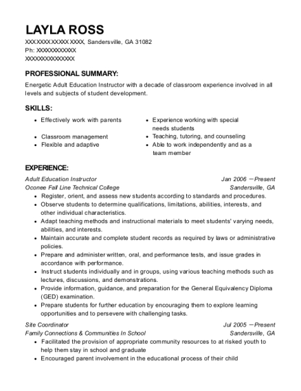 Adult Education Instructor resume template Georgia