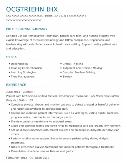 Patient care technician resume template Georgia