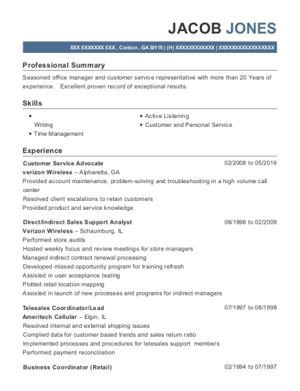 Customer Service Advocate resume template Georgia