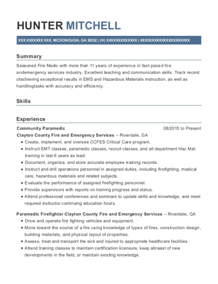 Community Paramedic resume template Georgia