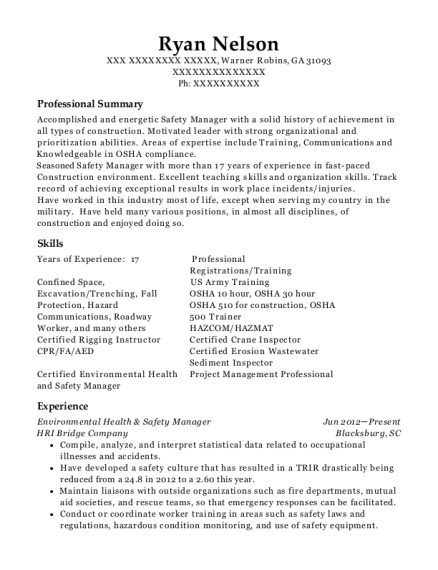 Environmental Health & Safety Manager resume sample Georgia