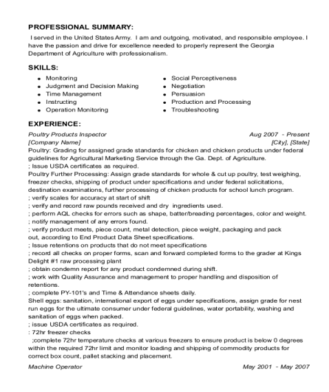 Poultry Products Inspector resume sample Georgia