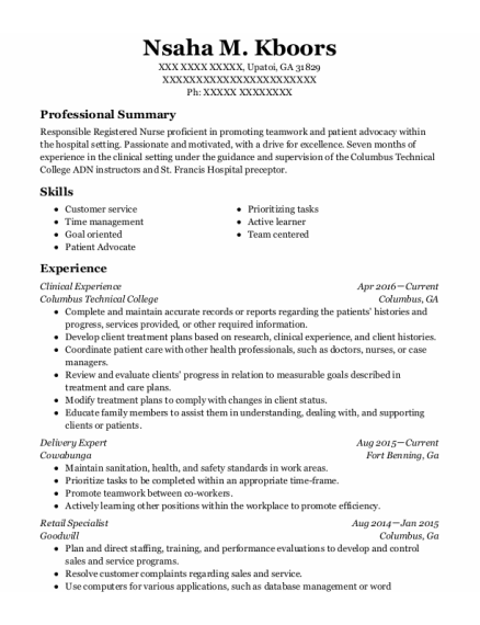 Clinical Experience resume sample Georgia