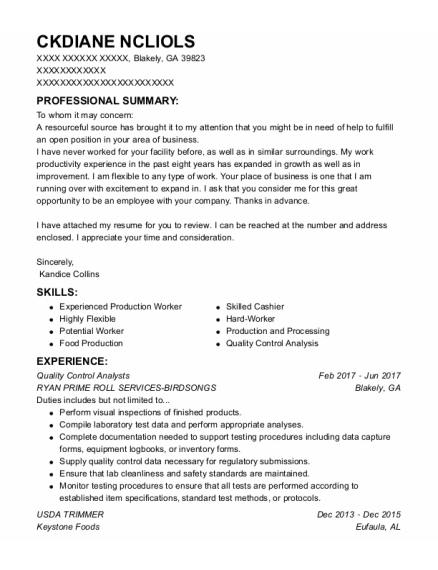 Quality Control Analysts resume template Georgia