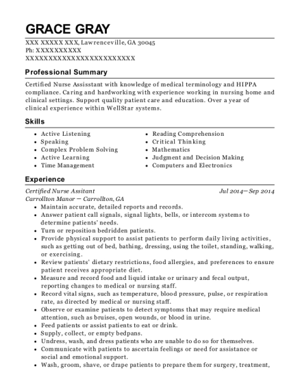 Certified Nurse Assitant resume example Georgia
