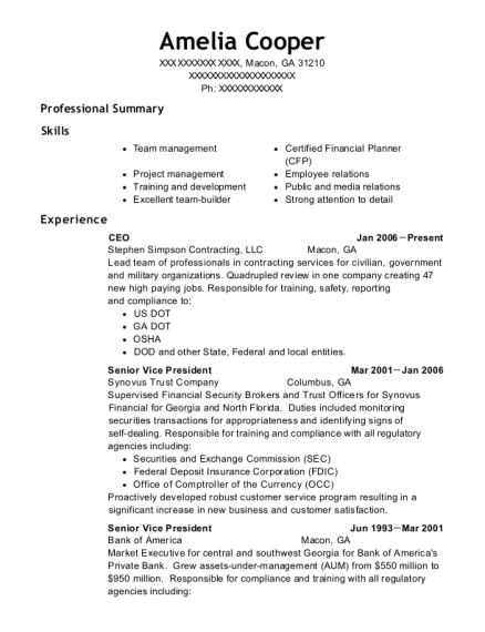 CEO resume format Georgia