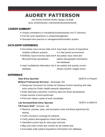 Data Entry Operator resume sample Georgia