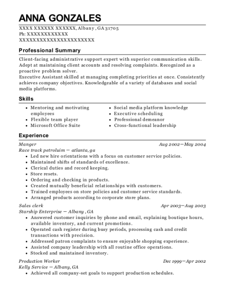 Manger resume template Georgia