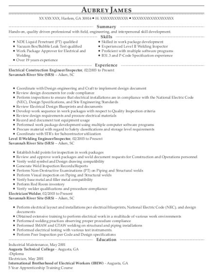 Electrical Construction Engineer resume example Georgia