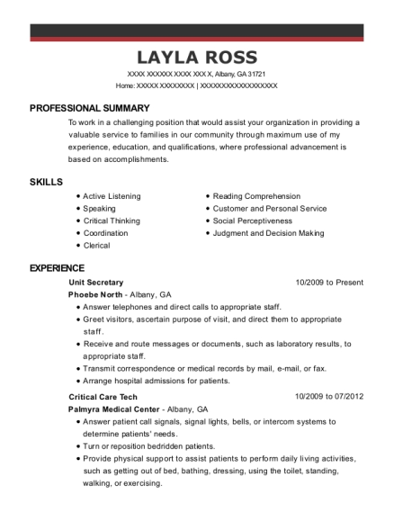 Unit Secretary resume sample Georgia