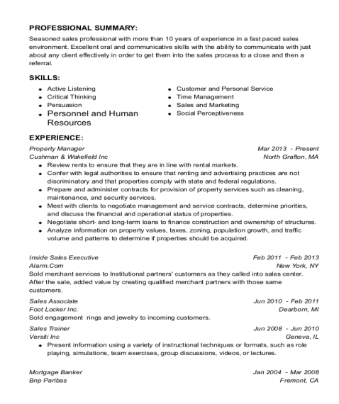 Property Manager resume format Georgia