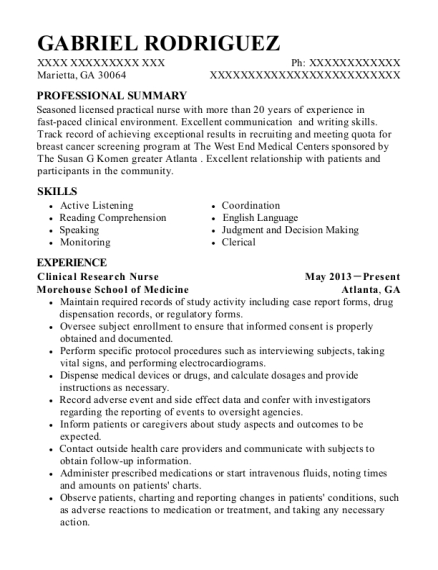 Clinical Research Nurse resume example Georgia
