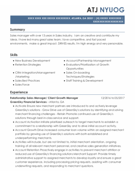 Sales Manager resume example Georgia