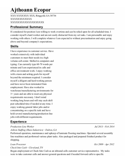 Production Line Worker resume format Georgia