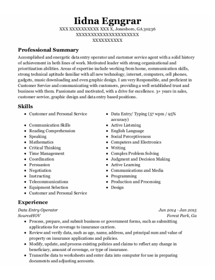 Data Entry Operator resume example Georgia