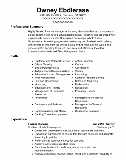 Finance Manager resume example Georgia