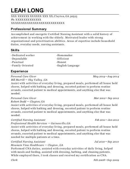 Personal Care Giver resume template Georgia