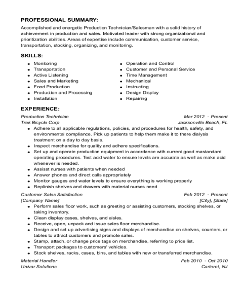 Production Technician resume example Georgia
