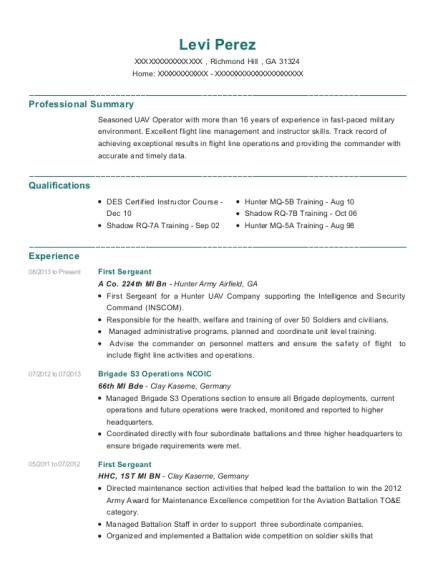 First Sergeant resume example Georgia