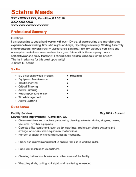 Assembly Line Operator resume example Georgia