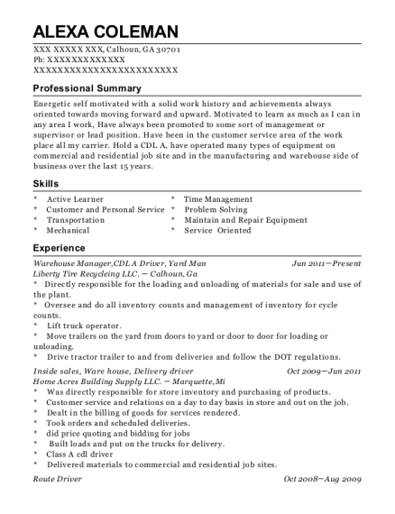 Warehouse Manager resume format Georgia