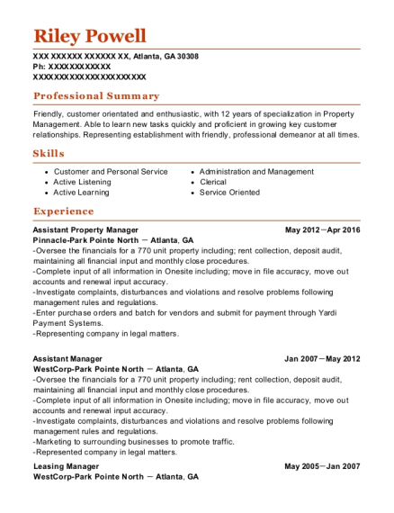 Assistant Property Manager resume sample Georgia