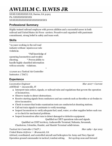 Locomotive Engineer resume example Georgia