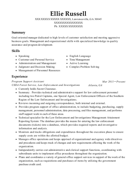 Program Support Assistant resume format Georgia