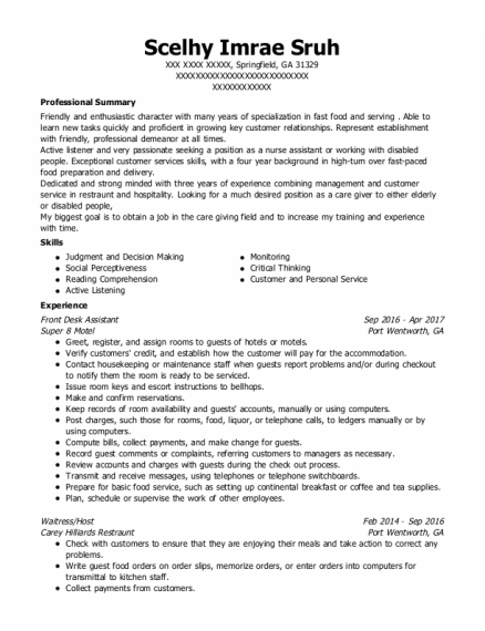 Front Desk Assistant resume template Georgia