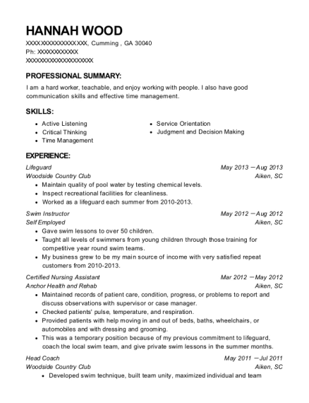 Lifeguard resume template Georgia