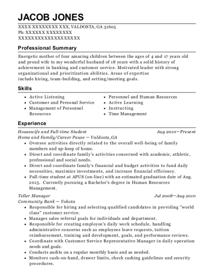 Housewife and Full time Student resume template Georgia