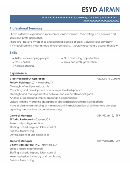 Vice President Of Operations resume example Georgia