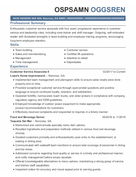 Food And Beverage Server resume example Georgia