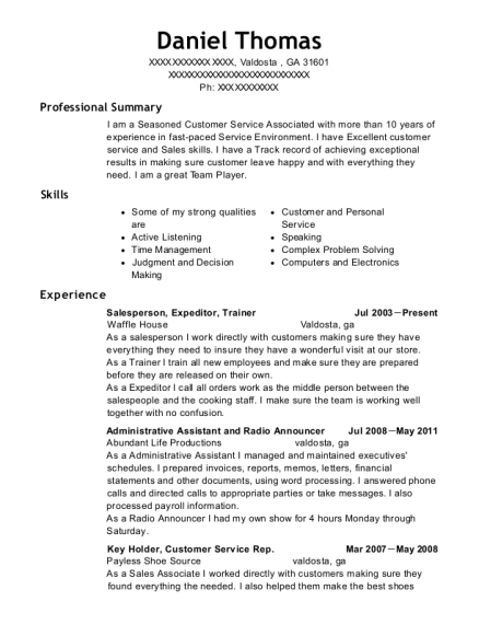Salesperson resume format Georgia