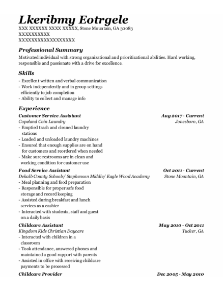 Customer Service Assistant resume example Georgia