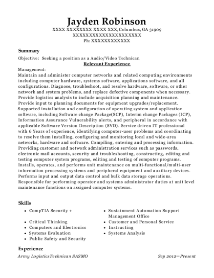 Army LogisticsTechnican SASMO resume format Georgia