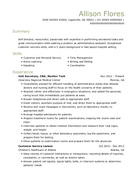 Unit Secretary resume format Georgia