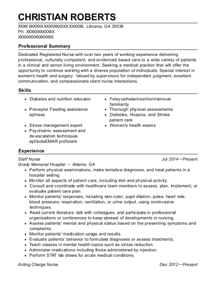 Staff Nurse resume format Georgia