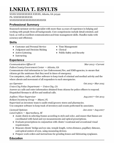 911 Operator resume template Georgia
