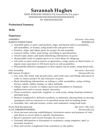 ASSEMBLY resume format Georgia