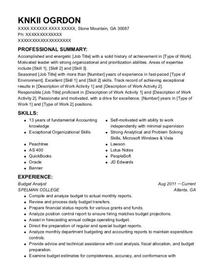 Budget Analyst resume sample Georgia