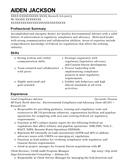 Lead Compliance Advisor resume sample Georgia