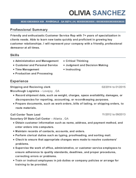Shipping and Recieving clerk resume format Georgia
