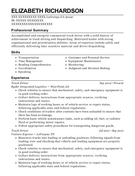 Truck Driver resume example Georgia